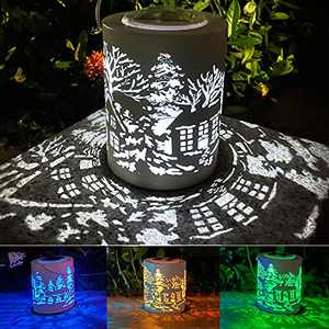Outdoor Decor, Color Changing Solar Lantern, Aokudoni Decorative Solar Pathway Lights for Patio Yard Garden Home, Waterproof Hanging Solar Table Lights for Halloween Christmas Decorations, Ideal Gift