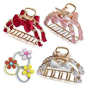 LYSTAR 3 PCS Metal Hair Clips,Large Hair Claw,Hair Accessories for Women,Contains Three Colors(Burgundy, Pink, White)