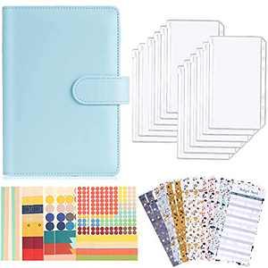 A6 Budget Binder, PU Leather Notebook Budget Planner Organizer with 12Pcs Cash Zipper Envelopes for Budgeting, 12Pcs Budget Sheets and 8 Sheets of Budget Planner Stickers