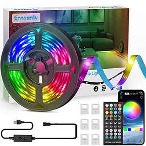 Enteenly 16.4FT Dreamcolor Led Strip Lights 16 Million Color Changing Led Lights DIY Rainbow Colors with App and Remote Control,Music Sync,USB,Led Lights Rgbic for Bedroom,Kitchen,Party,Room Decor