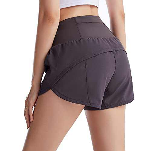 UBFEN Womens Athletic Shorts Running Workout Casual Yoga Gym Sports Shorts with Back Zipper Pocket Grey Small