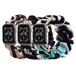 SNEDIY 3 Packs Compatible with Scrunchies Apple Watch Bands 42mm 44mm,Women Fashion Cloth Pattern Printed Fabric Wristbands Elastic Scrunchy Bands for iWatch Series 6 5 4 3 2 1 (Daisy/Brown/Colorful)