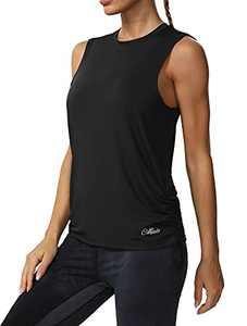Cakulo Women's Workout Sleeveless Shirts Plus Size Adjustable Running Tennis Yoga Gym Athletic Casual Summer Sleeveless Tank Tops Black 3XL