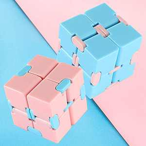 Infinity Cube Fidget Toy Pack for Kids & Adults, 2 Fidget Cube Sensory Toys for Autistic Children, Infinity Cubes Cool Gadgets for Men & Women, Anxiety Relief Items, Blue & Pink 1.5 Inch Desk Puzzle