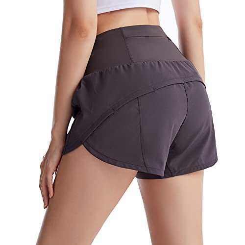 UBFEN Womens Athletic Shorts Running Workout Casual Yoga Gym Sports Shorts with Back Zipper Pocket Grey Medium