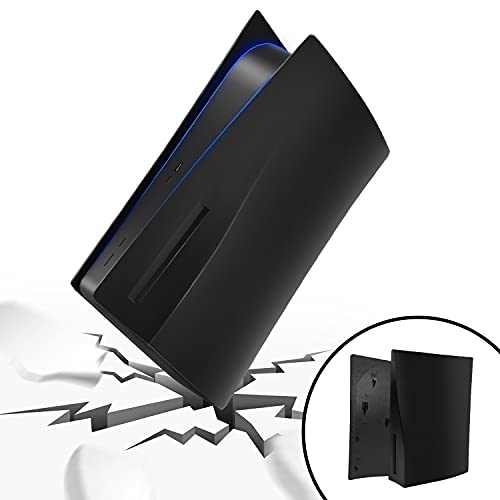 PS5 Plates for Console, Hard Replacement Panels Plate Shell for Playstation 5 Console Blu-Ray Edition, ABS Anti-Scratch Dust-Proof Protective Cover Faceplate Case Accessories for PS5 (Black)