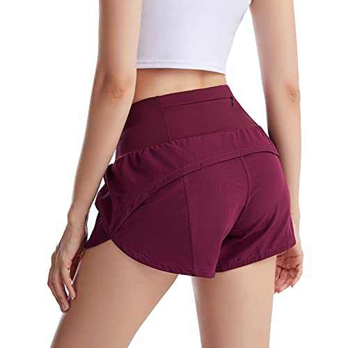 UBFEN Womens Athletic Shorts Running Workout Casual Yoga Gym Sports Shorts with Back Zipper Pocket Red Small
