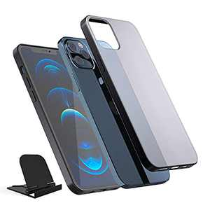 Winztry Black Compatible for iPhone 12 Case/Compatible for iPhone 12 Pro Case, Translucent Matte PC with Soft Silicone Edges, Shockproof Phone Case Designed for iPhone 12/12 Pro 6.1inch (2020), Black