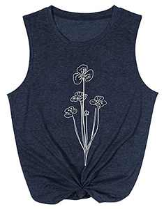 UNIQUEONE Women Flower Tank Tops Floral Pattern Summer Sleeveless Casual Graphic Tunic Tee Blue