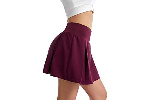 UBFEN Women's Pleated Tennis Skirts with Pockets Athletic Golf Skorts Running Exercise Skirts Red Large