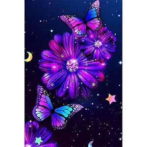 Butterfly Diamond Painting Kits for Adults 5D Butterfly Diamond Art Round Full Drill Perfect for Home Wall Deco12x16 Inch