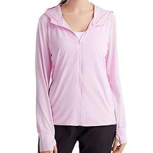 UBFEN Women's Sun Protection Hoodie Jacket Full Zip UPF 50+ Long Sleeve Sun Shirt Hiking Outdoor Performance with Pockets Pink