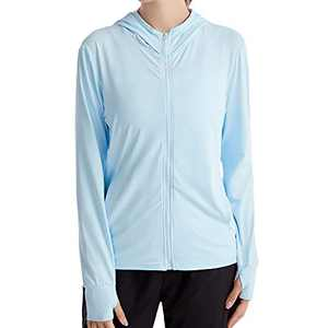 UBFEN Women's Sun Protection Hoodie Jacket Full Zip UPF 50+ Long Sleeve Sun Shirt Hiking Outdoor Performance with Pockets Blue
