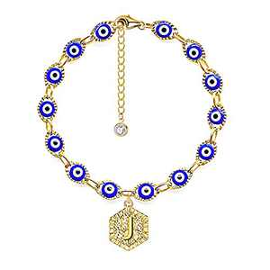 PANSHI Evil Eye Initial Bracelets for Women, Evil Eye Bracelet 14K Gold Plated Hexagon Letter Pendant Personalized Ojo Jewelry Birthday Gifts for Women Her Mom Daughter Sister Wife Adjustable (J)