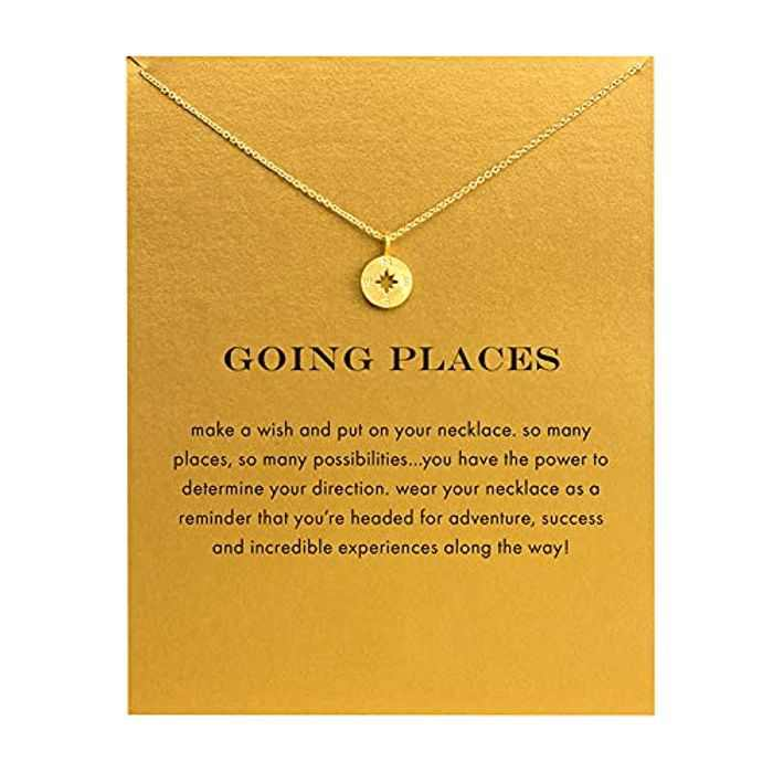 Friendship Gold Sun Compass Necklace Good Luck Elephant Pendant Chain Necklace with Message Card Gift Card