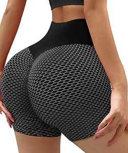 YAMOM Workout Shorts for Women High Waisted Running Tiktok Butt Lifting Tummy Control Yoga Booty Shorts