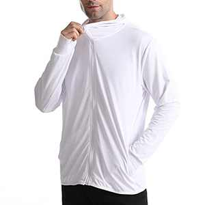 UBFEN Mens Sun Protection Hoodie Jacket Full Zip UPF 50+ Long Sleeve Sun Shirt Hiking Outdoor Workout Outdoor Fishing Running White