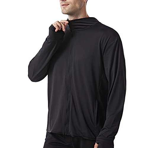 UBFEN Mens Sun Protection Hoodie Jacket Full Zip UPF 50+ Long Sleeve Sun Shirt Hiking Outdoor Workout Outdoor Fishing Running Black