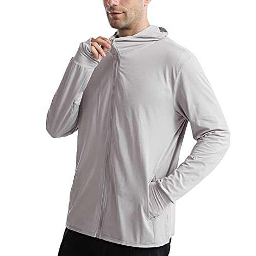 UBFEN Mens Sun Protection Hoodie Jacket Full Zip UPF 50+ Long Sleeve Sun Shirt Hiking Outdoor Workout Outdoor Fishing Running Gray