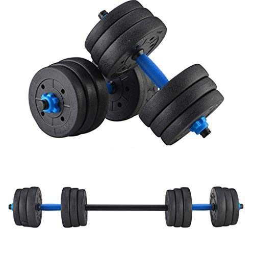 Adjustable Dumbbells Weight Set 44LBS(20KG), Weights Dumbbells Set with Connecting Rod can be Used as Barbells, Free Weights 2-in-1 Set, Home Fitness Gym Workout Equipment for Men Women (Black)