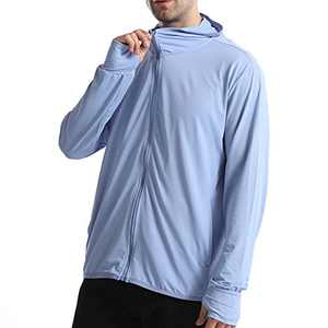 UBFEN Mens Sun Protection Hoodie Jacket Full Zip UPF 50+ Long Sleeve Sun Shirt Hiking Outdoor Workout Outdoor Fishing Running Blue
