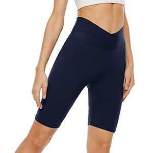 "Cross Waist Biker Shorts for Women – 8"" High Waisted Workout Short Crossover Leggings for Yoga Running Gym Navy Blue"