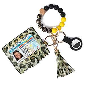 Keychain Bracelet Wristlet with Airtag Keychain Case Silicone Beaded Bangle Keyring with Tassel and Card Case Holder Wallet for Women,Black Yellow Leopard Print