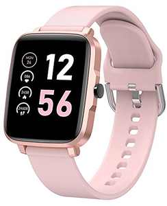 """Smart Watch with Heart Rate Monitor for Women, 1.54"""" Waterproof Fitness Watches with Changeable Faces, 10 Sports, Android and iOS Phones Compatible, Slim and Lightweight, Square, Rose Gold"""