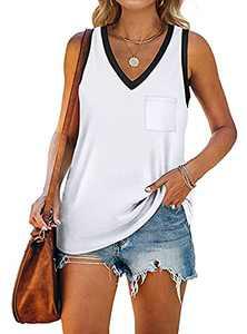 T&Twenties Women's V Neck Sleeveless Tank Tops with Pocket Loose Fit Color Block Shirts Summer Crewneck Basic Tunic Tees