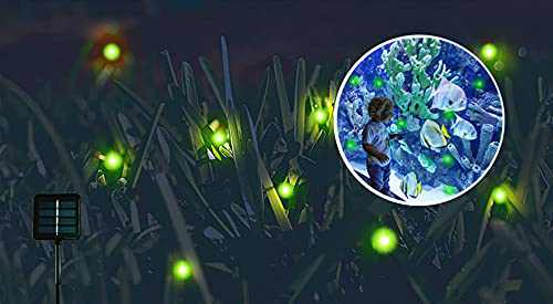 Solar Powered Firefly Lights,9 LED Fairy Automated Pulsating Firefly String Light Waterproof Garden Chasing Suitable for Swimming Pools, Fountain Fish Tanks, and Outdoor Decoration