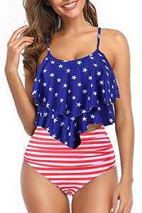 papasgix Girls Tankini Swimsuits for Women Double Flounce Ruffled Swimwear Top Two Piece Bahting Suits Tummy Control High Waisted Bikini Sets