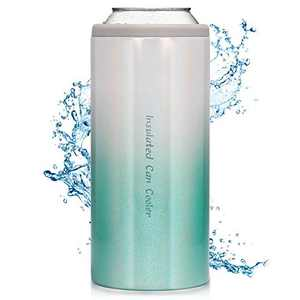 Slim Can Cooler Stainless Steel Double-walled Beverage Can Insulator for 12 Oz Slim Bottles Vacuum Insulated Can(Macaron Blue)
