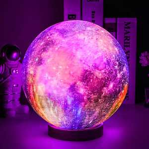 Moon Lamp, UooEA 5.9 Inch 16 Color LED 3D Print Galaxy Lamp, USB Rechargeable Remote & Touch Control, with Wood Stand & Hanging Net, Planet Star Lamp for Kids Baby Friend Birthday Room Space Decor