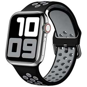 SNBLK Sport Bands Compatible with Apple Watch Bands 42mm 44mm 45mm, Breathable Soft Silicone Sport Women Men Replacement Band with Classic Clasp for iWatch SE & Series 7/6/5/4/3/2/1,Black/Gray