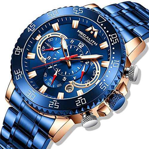 MEGALITH Mens Watch Blue Chronograph Men's Wristwatch Stainless Steel Watch Men 45mm Large face Waterproof Analog Watches for Man Luminous Calendar Men Gift
