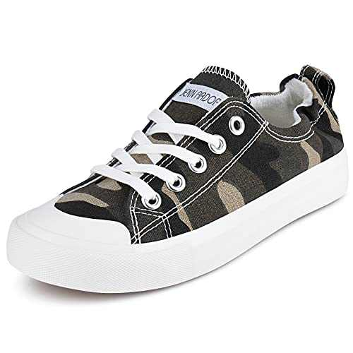 JENN ARDOR Canvas Shoes for Womens Slip on Sneakers Comfortable Shoes for Women Fashion Sneakers Low Top Wakling Shoe Camouflage