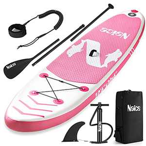 """Naice Inflatable Paddle Boards, 10'6""""30"""" 6"""" Classic Stand Up Sup Boards for All Skill Levels, W/Leash, Bagpack, Hand Pump, for Surfing, Travling, Yoga"""