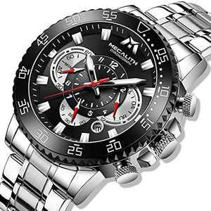 MEGALITH Mens Watch Silver Chronograph Men's Wristwatch Stainless Steel Watch Men 45mm Large face Waterproof Analog Watches for Man Luminous Calendar Men Gift