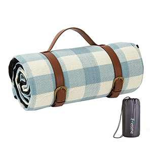 """Fretime Portable Large Outdoor Picnic Blanket 57""""x77"""" Camping Mat with Waterproof & Sandproof Backing, 3-Layer Handy Foldable Picnic Mat with Faux Leather Carrier for Beach (Blue Plaid)"""