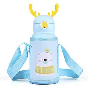 Cute Kids Water Bottle 17 Oz 316 Stainless Steel Vacuum Insulated Thermos With Straw (B)