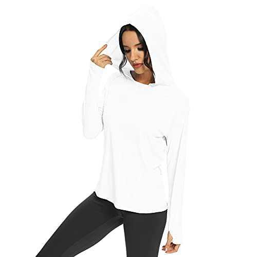 M MAROAUT Women's UPF 50+ UV Sun Protection Hoodie Long Sleeve Hiking Shirt Lightweight Quick Dry Outdoor Running Fishing White