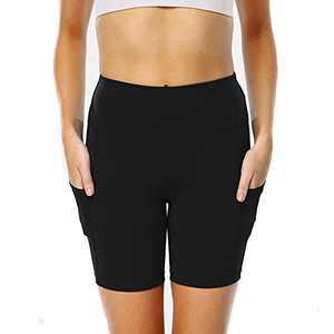 Taoxi Women s Workout Yoga Shorts High Waist Running Compression Athletic Pants 2XL Black