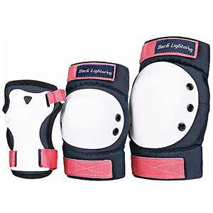 Dark Lightning Adult/Youth/Junior Knee Pads Elbow Pads Wrist Guards 3 in 2 Protective Gear, for Skateboard,Roller Skate,Inline,Cycling,MTB Bike,Scooter(Pink,L)