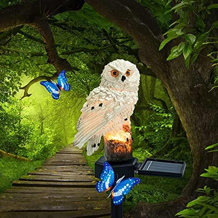 Solar Lights Outdoor Garden Ornaments Animals Resin Owls Solar led Lights Outdoor Garden Stake Waterproof Lighting for Flower Fence, Lawn, Patio, Walkway, Summer Party, Christmas,Holiday Gifts