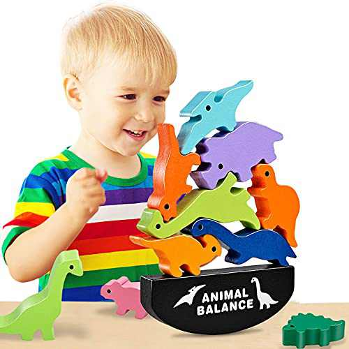 Dinosaur Toys for Kids 3-5, Wooden Stacking Blocks Toys for 3-7 Year Old Boys Girls, Early Educational Toys for Toddler, Boys Toys Age 3-7 for Birthday Gifts for Boys Girls