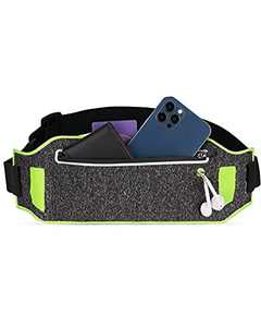 LIVACASA Running Belt Waist Packs Hiking Fitness Reflective Runners Belt Bag Phone Holder UP to 6.7in Adjustable Elastic Strap Sweat Absorption with Reflective Stripes Dark Gray Green