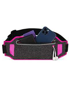LIVACASA Running Belt Waist Packs Hiking Fitness Reflective Runners Belt Bag Phone Holder UP to 6.7in Adjustable Elastic Strap Sweat Absorption with Reflective Stripes Dark Gray Rosa