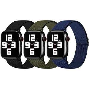 MNBVCXZ 3 Pack Stretchy Nylon Loop Band Compatible with Apple Watch Bands 44mm 42mm 40mm 38mm for Women Men,Breathable Adjustable Sports Strap fit iWatch Series 6/5/4/3/2/1 SE