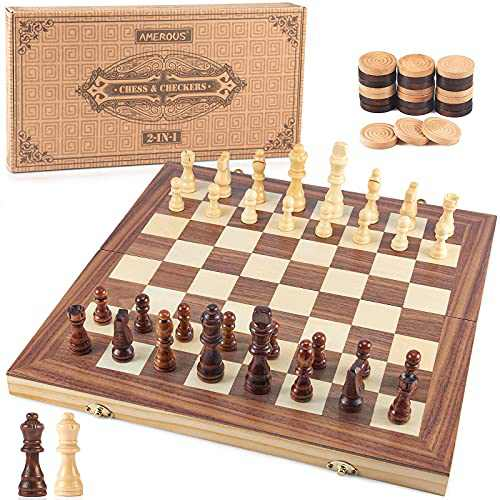 AMEROUS 15'' Wooden Chess & Checkers Set, 2 in 1 Board Games -2 Extra Queens - Folding Board - 24 Cherkers Pieces - Gift Box Packed - Chessmen Storage Slots, Beginner Chess Set for Kids and Adults