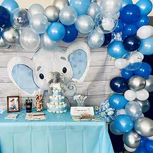 NEIJIANG Blue Balloon Garland Kit,126 Pcs Navy Royal Blue White Confetti Silver Metallic Balloons Arch Kit with 4 Pcs Tools for Festival Birthday Graduation Wedding Party Decorations Supplies (Large)